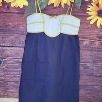 Anthropologie Lilka Lihaf Dress Sz M Blue Yellow Quilted Top Pockets Womens Photo