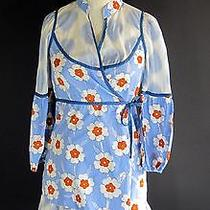 Anthropologie Lilka Rare Sakura Ice Robe Sz S Xs Blue Floral Wrap Nighty Photo