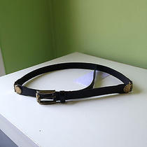 Anthropologie Linea Pelle 100% Leather Belt Black Gold Hinge Small Photo