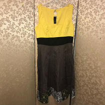 Anthropologie Lithe Yellow Brown Embroidered Tea Party Dress Size 6 Photo