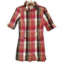 Anthropologie Little Yellow Button Plaid Mini Dress Size Xs 3/4 Sleeves Photo