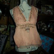 Anthropologie Lotta Stensson Beautiful Peach  Embroidered Silk Halter Size 4  Photo
