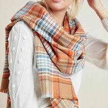 Anthropologie Lottie Fringe Plaid Orange Blue Blanket Scarf Nwt Acrylic Winter Photo