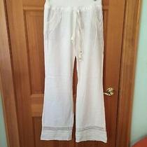 Anthropologie Love Tree Womens Pants S White Linen Blend Crochet Photo
