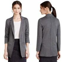 Anthropologie Loving Lines Blazer Xsmall 0 2 Grey Stripes Soft Comfy Slim Fit Photo