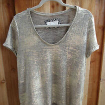 Anthropologie Luminary Shine Knit Tshirt Metallic Gold Top Mp -Located  Bin 16 Photo