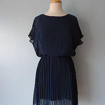 Anthropologie Lush Navy Blue Pleated See Through Top Dress Women Size Xs Lined Photo