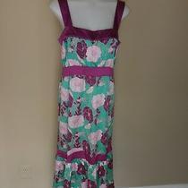 Anthropologie Lux Dress Medium Floral Flower Silk Purple Pink Aqua Turquoise Photo