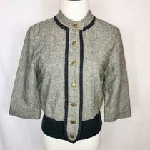 Anthropologie Madchen Bomber Wool Gray Blue Jacket Size S Photo