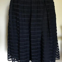Anthropologie Maeve Black Sheer Striped Lined Skirt Size 6 Photo