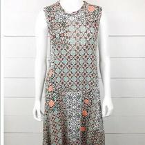 Anthropologie Maeve Blue Orange Asymmetrical Floral Hippie Dress Size Small Photo