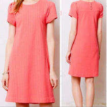 Anthropologie Maeve Coral Textured Knit Short Sleeve Shift Dress Size Xs Photo