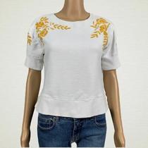 Anthropologie Maeve Embroider Vineland Sweatshirt Top Xs White Gold Floral Crop Photo