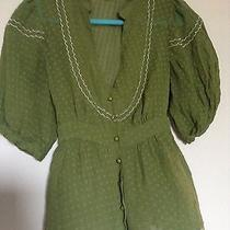 Anthropologie 'Maeve' Green Scalloped Blouse Size 4 Trendy Great for Fall Photo