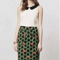 Anthropologie Maeve Heartstamp Pencil Skirt Green Red Black Hearts Size 2  Photo