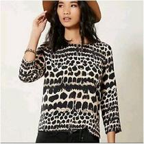 Anthropologie Maeve Linosa 100% Silk Leopard Print Blouse Black Cream Blush Pink Photo