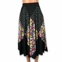 Anthropologie Maeve Midi Skirt Size Small Polka Dot Floral Rayon Boho  Photo