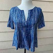 Anthropologie Maeve Orchid Island Top Blue Short Sleeve Women Casual Shirt 0 Photo