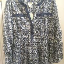 Anthropologie Maeve Size 14 Abella Top Long Sleeve Blouse Blue White Floral Nwt Photo