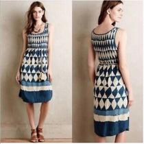 Anthropologie Maeve Sleeveless Blue Diamond Dress Knee Length Size 8 Photo