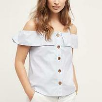 Anthropologie Maeve Sz 6 Canopy Open Shoulder Top Blue Striped Button Front New Photo
