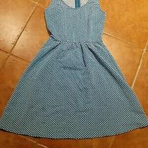 Anthropologie Maeve Sz Xs Textured Caldera Dress Blue White Polka Dot Fit Flare. Photo