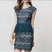 Anthropologie Maeve Teal Elsa Lace Peplum Dress Size S Euc Photo