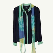 Anthropologie Maeve Women's Size 4 Button Blouse Blue With Scarf Long Sleeve Photo