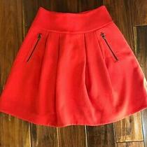 Anthropologie Maeve Womens Scarlet Pleated Swing Red Skirt Size 0 Photo
