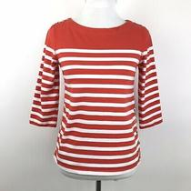 Anthropologie Maeve Womens Size Small Orange White Striped Boat Neck Shirt Top Photo