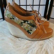 Anthropologie Matiko Wooden Wedge Heels Size 8.5 Lace Up Brown and Green Detail Photo