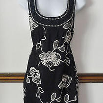 Anthropologie Max Studio Black White Vintage Dress Sundress Embroidered Xs Small Photo