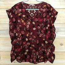 Anthropologie Meadow Rue Burgandy Rose Floral Ruffle Sleeze Blouse Top L Photo
