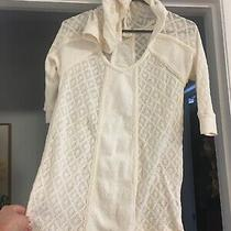 Anthropologie Meadow Rue Size Xs Ivory Hoodie Embroidered Tunic Top R6 Photo