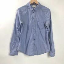 Anthropologie Meadow Rue Striped Button Shirt Top Down Flower Cuff Blue Size 4  Photo