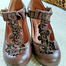 Anthropologie Miss Albright Rensselaer T-Strap Brown Leather Heels Size 37 Photo