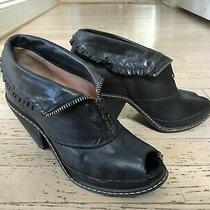 Anthropologie Miss Albright Wedge Black Leather Ruffle Boots Size 6 7 Mismatched Photo