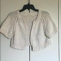 Anthropologie Moth Chunky Kit White Ivory Cropped Shrug Bolero Cardigan M L Photo