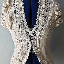 Anthropologie Moth Crocheted Crochet Ivory Embellished Floral Size M Photo