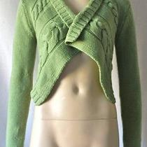 Anthropologie Moth Green Cable Knit Open Cropped Cardigan Sweater Small S 4 6  Photo