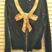 Anthropologie Moth Navy Blue Orange Bow Cardigan Sweater Medium Photo