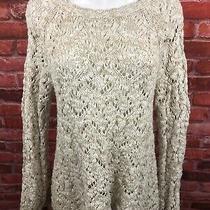 Anthropologie Moth Off White Grey Crochet Open Knit Sweater Medium (F26) Photo