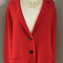 Anthropologie Moth Red Sweater Jacket Blazer Size Large Wool Blend  Photo