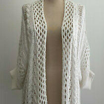 Anthropologie Moth White Loose Stitch Open Cardigan Sweater Sz Small Photo