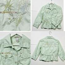 Anthropologie Murmur Floral Bird Embroidered 3/4 Sleeve Jacket Top Shirt Green L Photo