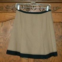 Anthropologie Nanette Lepore Wool Blend Brown/black Grosgrain Pleat Skirt Sz 4  Photo