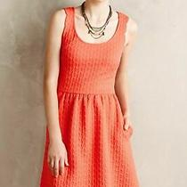 Anthropologie New Coral Caye Scalloped Dress by Maeve Size M Orange Photo
