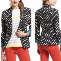 Anthropologie New Dotty Knit Blazer Jacket Dark Gray White Polka Dot Sz S 98 Photo