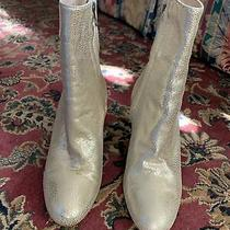 Anthropologie Nora Scarpe Di Lusso Gold Leather Booties Size 36 Photo