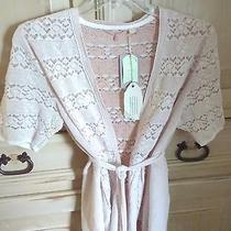 Anthropologie Nwt Pointelle Cardigan Large Cotton Blush Pink Belted Tie Photo